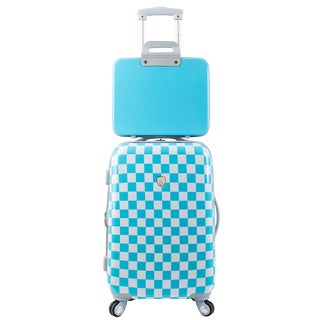 Traveler's Club Paris 2-Piece Checkered Hardside Expandable Spinner Luggage Set with Tablet Case