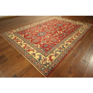 Geometric Hand-knotted Wool Red Super Kazak Vegetable Dyed Oriental Rug (8' x 12')