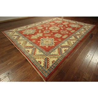 Hand-knotted Wool Geometric Area Red Vegetable Dyed Super Kazak Rug (9' x 13')