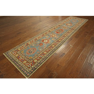 Oriental Mojave Collection Sky Blue Kazak Hand-knotted Wool Rug (3' x 11')