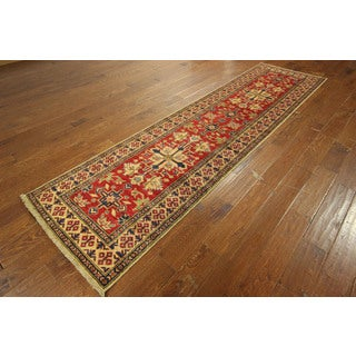 Super Kazak Red Splendid Design Hand-knotted Wool Oriental Rug (3' x 11')