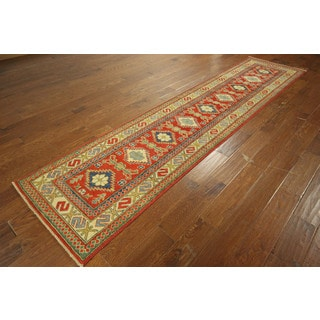 Mojave Collection Runner Red Kazak Hand-knotted Wool Oriental Rug (3' x 11')