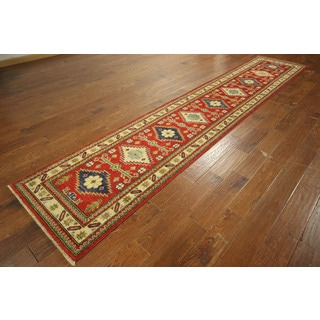 Adina Collection Runner Red Kazak Hand-knotted Wool Oriental Rug (3' x 13')