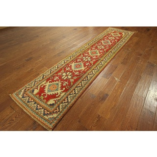 Red Kazak Regal Collection Hand-knotted Wool Oriental Runner Rug (3' x 11')