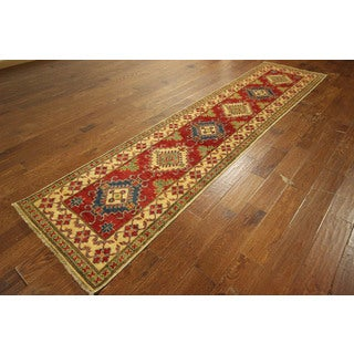 Runner Adina Collection Red Kazak Hand-knotted Wool Oriental Rug (3' x 11')