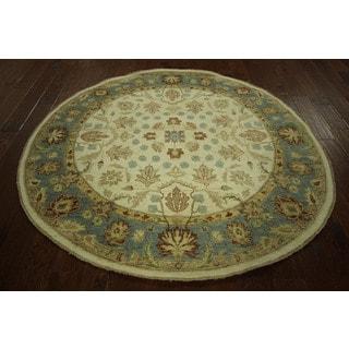 Round Authentic Peshawar Ivory Chobi Hand-knotted Wool Oriental Rug (6', 6' x 6')