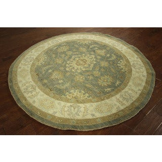 Round Oriental Peshawar Blue Chobi-knotted By Hand Wool Area Rug (6', 6' x 6')