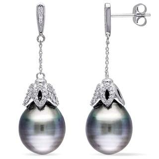 Miadora 10k White Gold Platinum Tahitian Pearl and 1/4ct TDW Diamond Dangle Earrings (G-H, I2-I3) (9.5-10 mm)