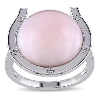 Miadora Sterling Silver Pink Opal and Diamond Accent Cocktail Ring