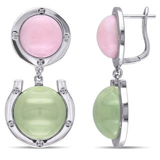 Miadora Sterling Silver Pink Opal and Prehnite with 1/10ct TDW Diamond Dangle Earrings (G-H, I2-I3)