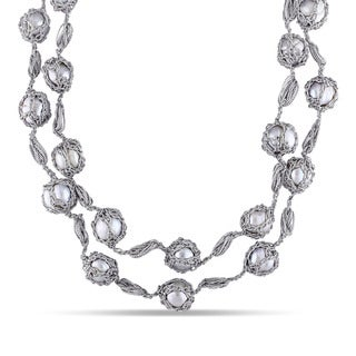 Miadora Sterling Silver Cultured Freshwater White Pearl Double-Strand Station Necklace (11-13 mm)