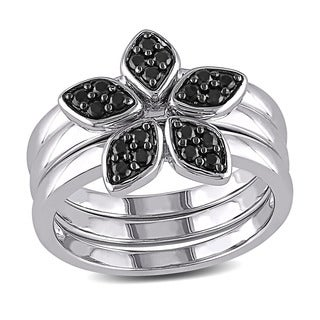 Miadora Sterling Silver Black Spinel Flower Ring Set