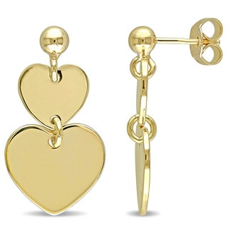 Miadora Yellow Silver Double Heart Dangle Earrings