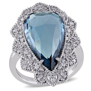 Miadora Signature Collection 14k White Gold Blue Topaz and 1/3ct TDW Diamond Halo Cocktail Ring (G-H, SI1-SI2)
