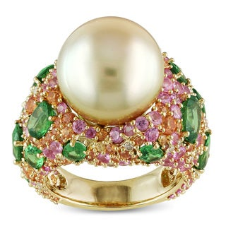 Miadora Signature Collection 14k Yellow Gold South Sea Pearl Multi-gemstone and 1/4ct TDW Diamond Co