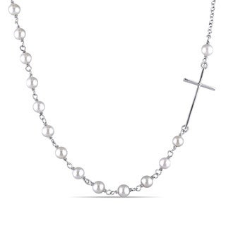 Miadora Sterling Silver Cultured Freshwater Pearl Cross Necklace (4-5 mm)
