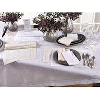 Embroidered and Hemstitch Linen Blend Tablecloth
