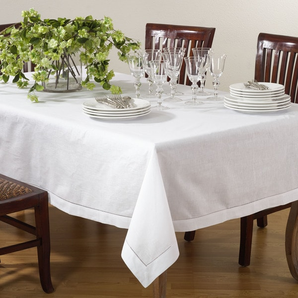 Hemstitched Linen Blend Tablecloth. Opens flyout.