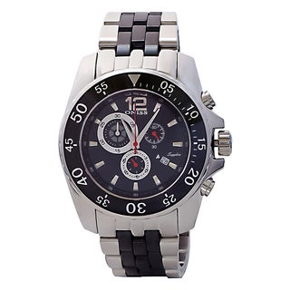 Oniss Men's ON4220-M/BK Mens Sporty Stainless Steel and Ceramic Design Timepiece