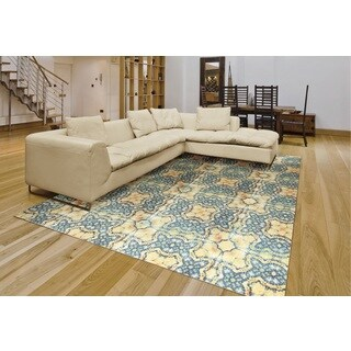 Rug Squared Sea Breeze Blue Gold Rug (5' x 7')
