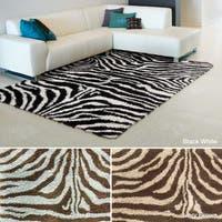 Rug Squared Winchester Zebra Shag Accent Rug (2'3 x 3'9)