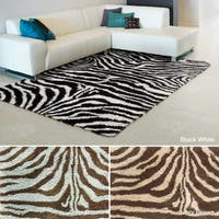 Rug Squared Winchester Zebra Shag Rug (7'6 x 9'6)