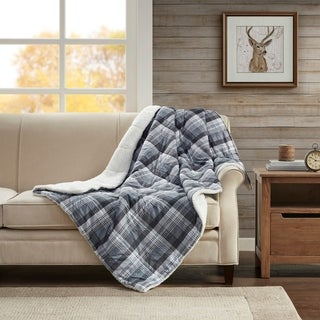 Woolrich Leeds Navy Softspun Down Alternative Oversized Throw