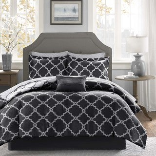 Madison Park Essentials Alameda Black Reversible Complete Comforter and Cotton Sheet Set