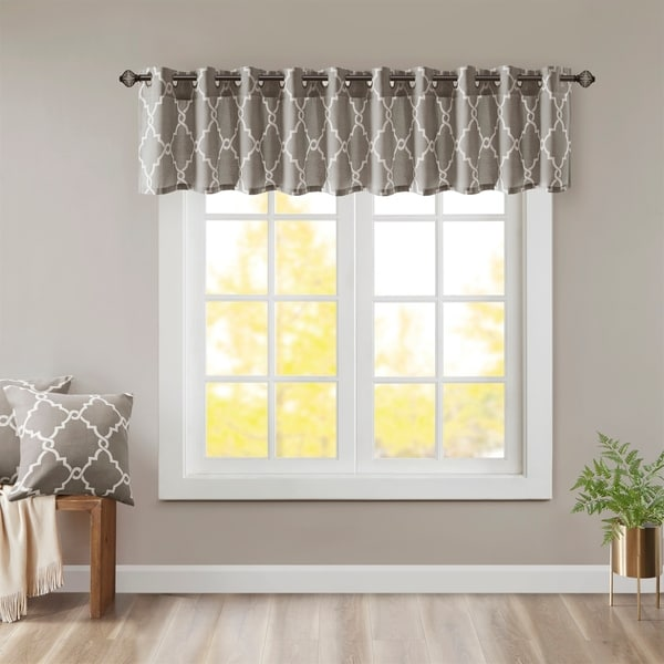 "Madison Park Westmont Fretwork Print Grommet Top Window Valance - 50x18"". Opens flyout."
