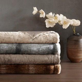 Madison Park Signature Geneva Luxury Faux Fur Throw
