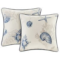 Madison Park Nantucket Cotton Printed Square 20-inch Throw Pillow (Set of 2)