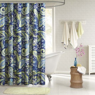 The Curated Nomad Lyon Paisley Blue and Green Shower Curtain