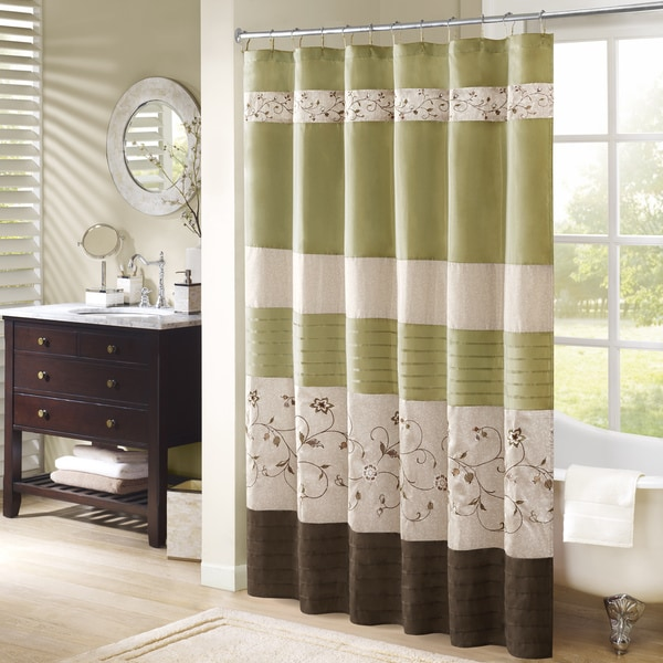 Madison Park Estella Faux Silk Embroidered Floral Shower Curtain