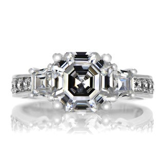 Sterling Silver Three Stone Asscher Cut CZ Engagement Ring