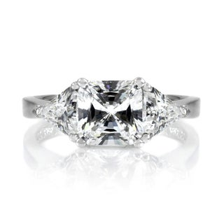 Sterling Silver Three Stone Princess and Trillion Cut CZ Engagement Ring