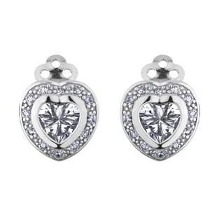 Heart Cut CZ Clip-on Stud Earrings