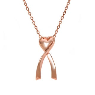 Breast Cancer Awareness Pink Goldtone Ribbon and Heart Necklace