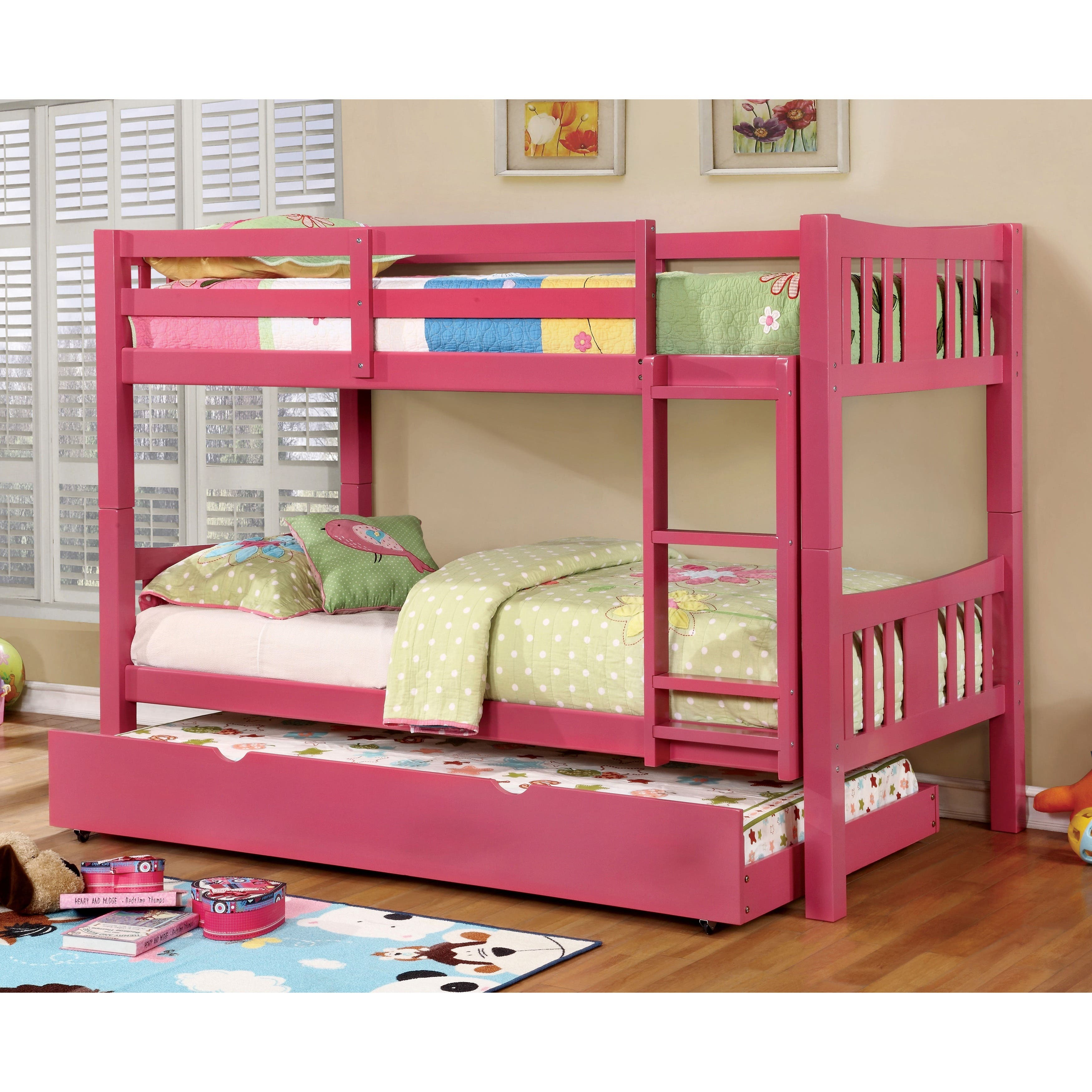 Kids 39 toddler beds for less for Furniture of america pello full over full slatted bunk bed