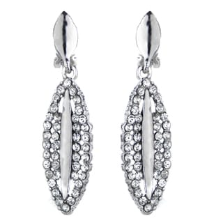 Fancy Rhinestone Drop Clip On Earrings