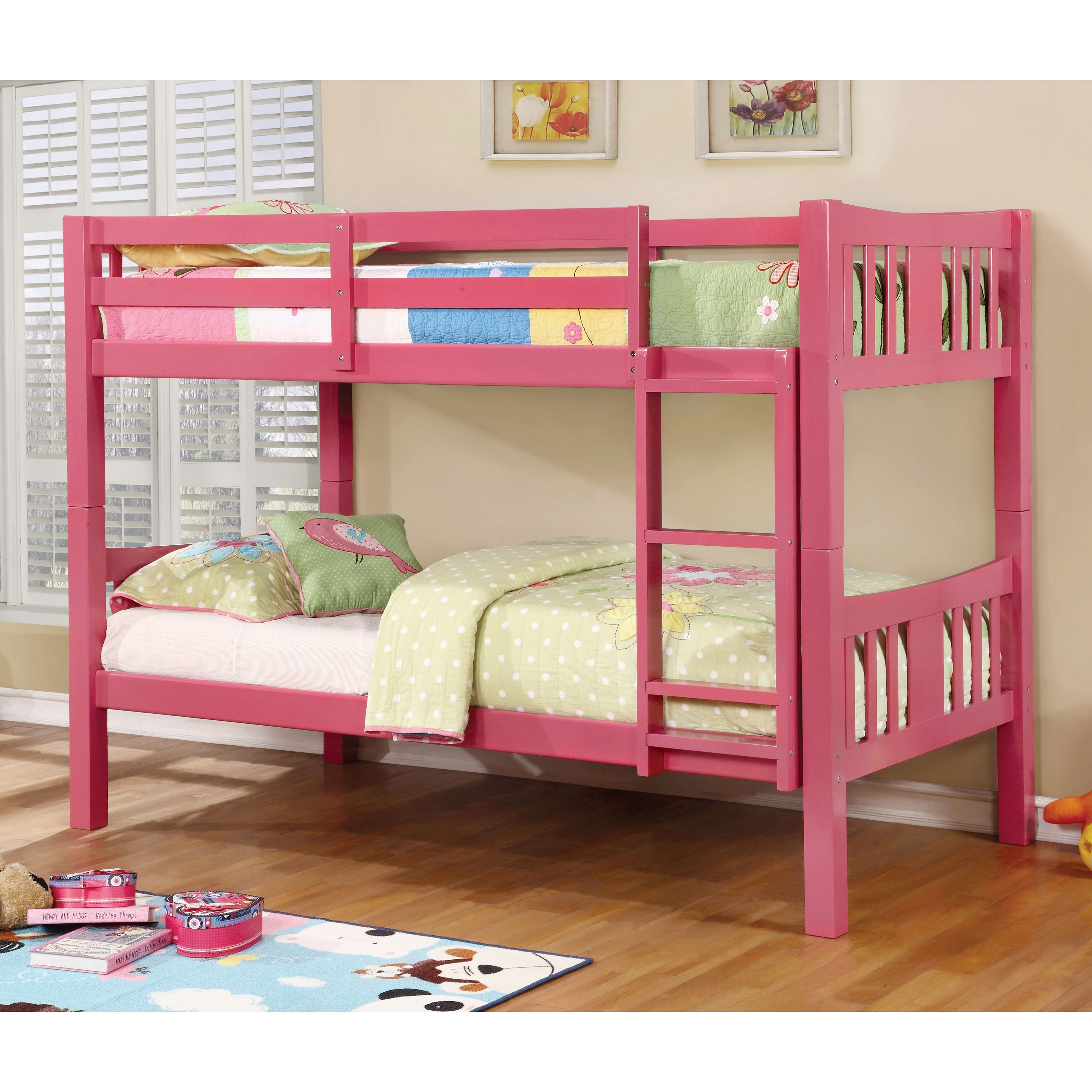 Furniture of America Pello Twin over Twin Bunk Bed (Pink)