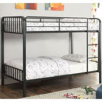 Furniture of America Jordy Black Metal Slatted Bunk Bed