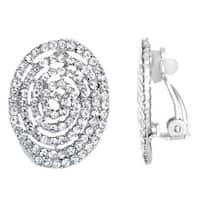 Rhinestone Spiral Button Clip-On Earrings