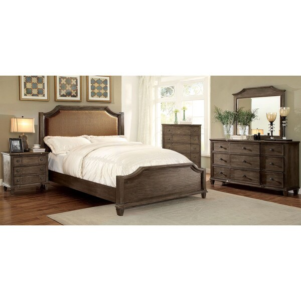 Furniture of America Gryphen Rustic 4-piece Wire-brushed Grey Bedroom Set. Opens flyout.