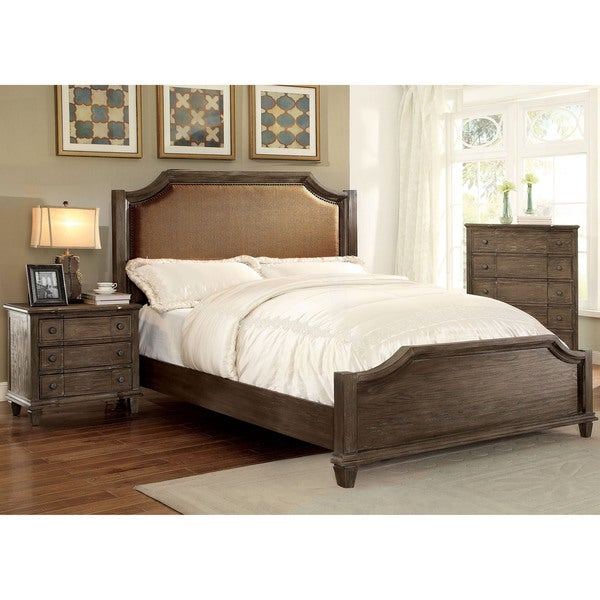 Furniture Of America Gryphen Rustic 2 Piece Wire Brushed Grey Bed And Nightstand Set Free