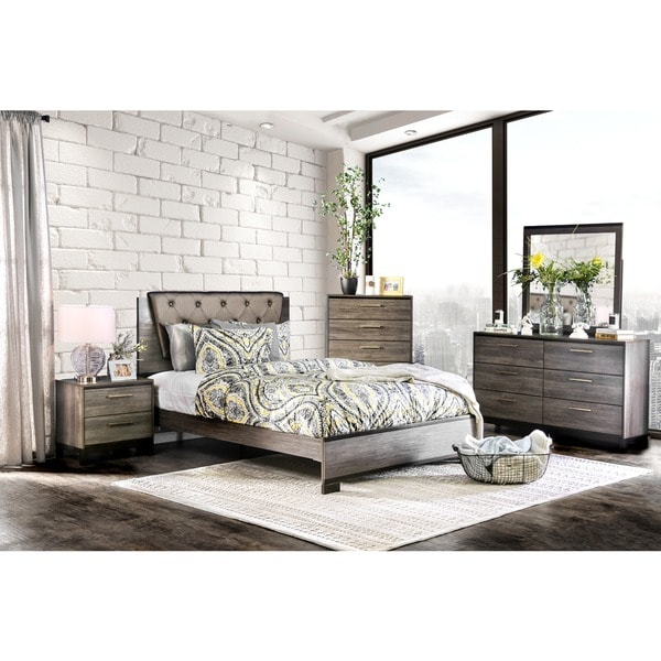 Furniture Of America Silvine Contemporary 4 Piece Antique Grey Bedroom Set Free Shipping Today