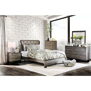 Furniture of America Silvine Contemporary 4-piece Antique Grey Bedroom Set