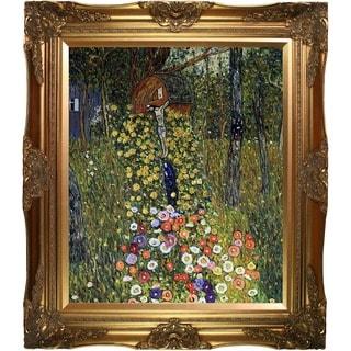 Gustav Klimt 'Cottage Garden with Crucifix' (Luxury Line) Hand Painted Framed Canvas Art