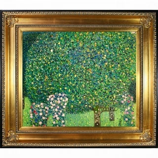 Gustav Klimt 'Roses Under the Trees' Hand Painted Framed Canvas Art