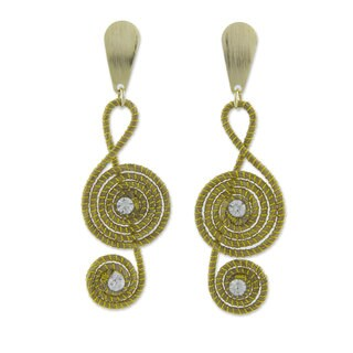 Handmade Gold Overlay 'Jalapao Melody' Earrings (Brazil)