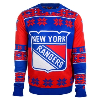 Forever Collectibles NHL New York Rangers Big Logo Crew Neck Ugly Sweater